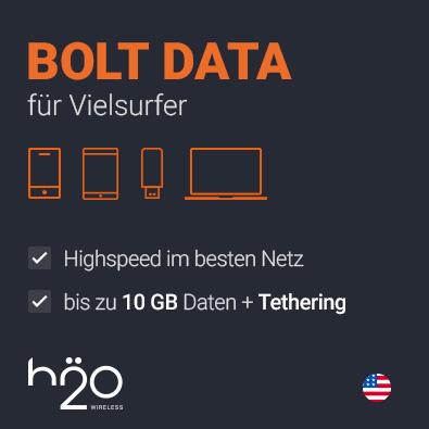 H2O Bolt Prepaid Daten SIM USA